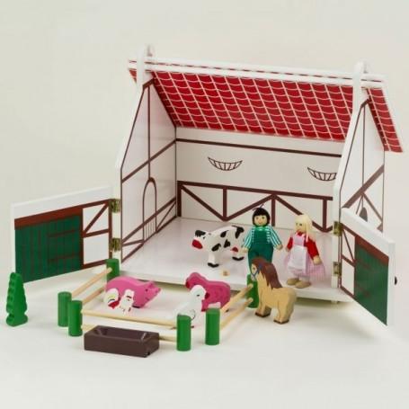 Dřevěný farmářský dům s figurkami