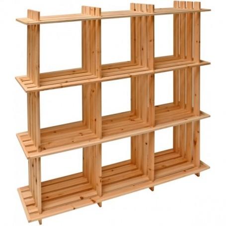 Dřevěný policový regál 9 složek 113x27x110 cm