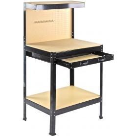 Pracovní dílenský stůl, ponk s děrovanou stěnou DWT 800