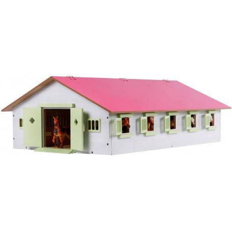 Stáj pro koně s 9 boxy a růžovou střechou 1:32