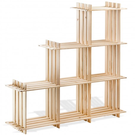 Dřevěná knihovna / dřevěný regál 6-přepážek