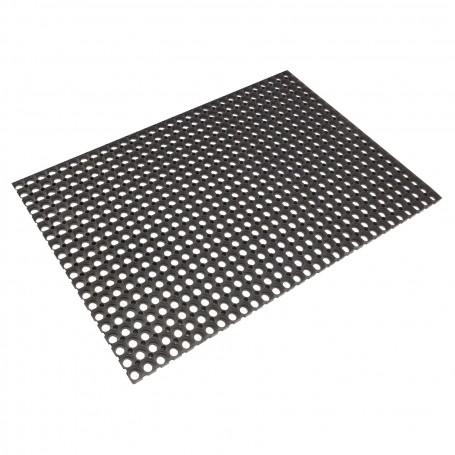Gumová rohožka s kroužky 80x120 cm, černá