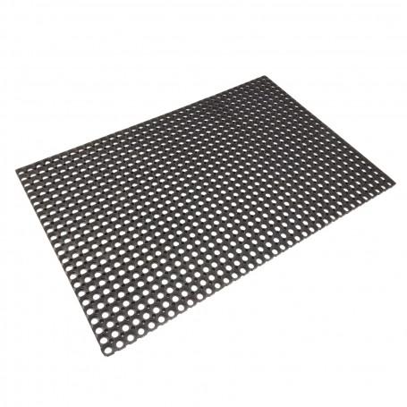 Gumová rohožka s kroužky 100x150 cm, černá